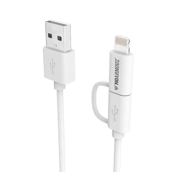 MoArmouz - 2 in 1 MFI Certified Sync n Charge Cable with Lightning & micro USB adapter