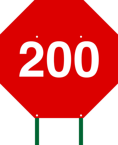 Distance Sign Octagonal Red 200