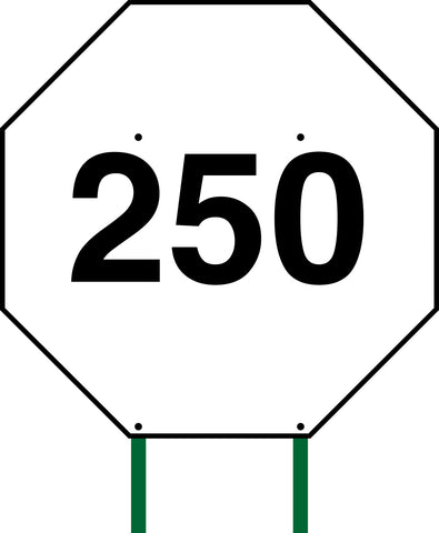 Distance Sign Octagonal White 250