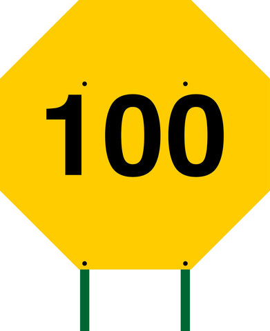 Distance Sign Octagonal Yellow 100