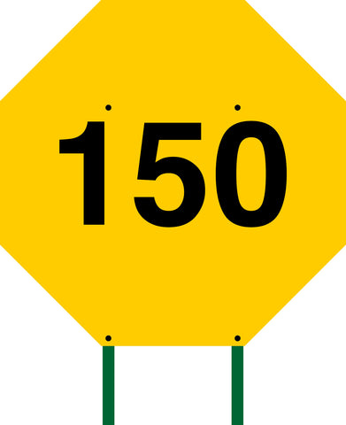 Distance Sign Octagonal Yellow 150