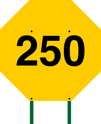 Distance Sign Octagonal Yellow 250