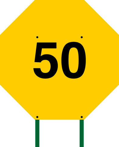 Distance Sign Octagonal Yellow 50