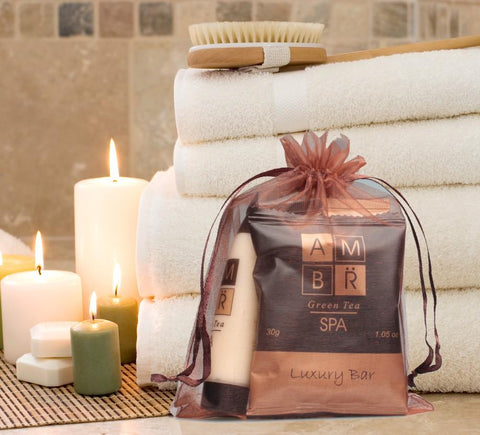 AMBR Spa Room Ready Kit in Organza Drawstring Bag (Small) ~ (10 per case) $3.89 each or less