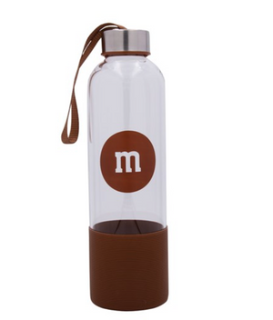 M&M's World Brown Character Water Glass Bottle with Silicone Bottom New