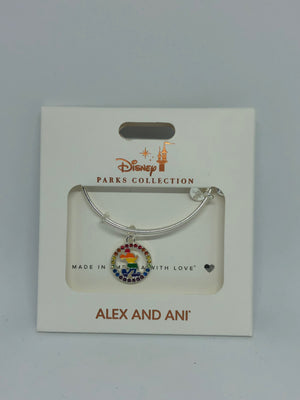 Disney Parks Mickey Silhouette Rainbow Bracelet Alex & Ani Silver New with Box