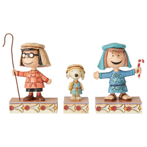 Jim Shore Peanuts Christmas Pageant Set 3 Three Shepherds Figurine New with Box