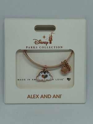 Disney Parks Mickey Hands Heart Rainbow Bracelet Alex & Ani Pink Gold New w Box
