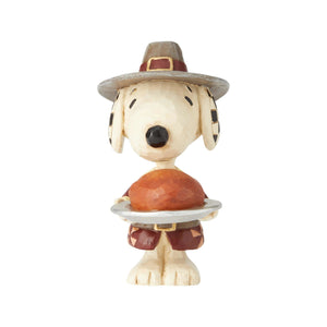 Jim Shore Peanuts Snoopy Pilgrim Mini Resin Figurine New with Box