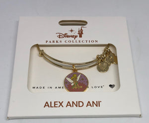 Disney Parks Tinker Bell on Flower Bracelet Alex & Ani Gold Finish New with Box