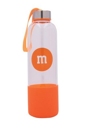 M&M's World Orange Character Water Glass Bottle with Silicone Bottom New