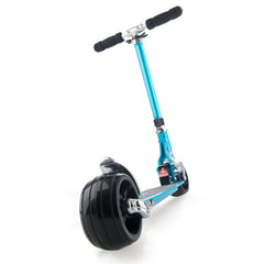 Micro kick scooter with extra wide wheels, sky blue rear wheel close up