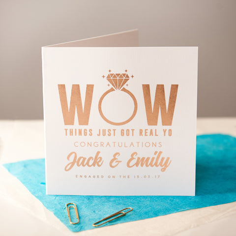 Personalised Rose Gold Foiled Engagement Card