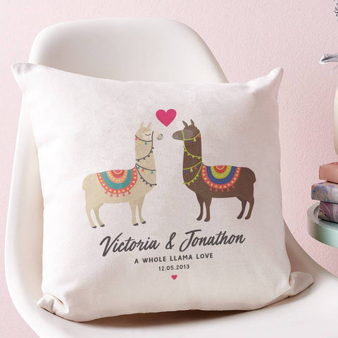 Personalised Couples Llama Cushion