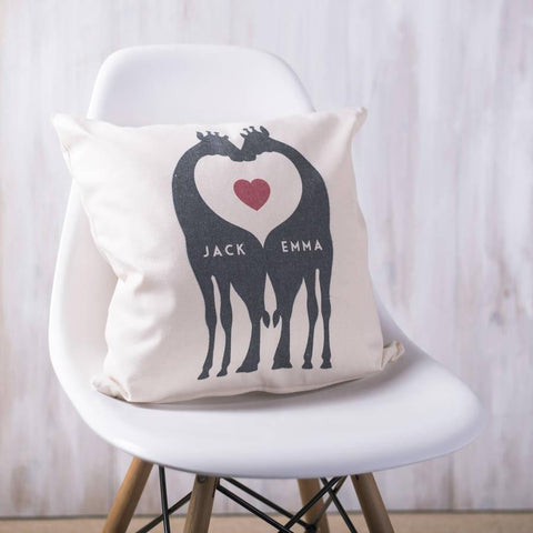 Personalised Giraffe Couples Cushion - Oakdene Designs
