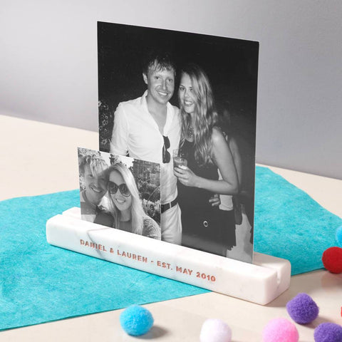 Personalised Solid Marble Photo Bar