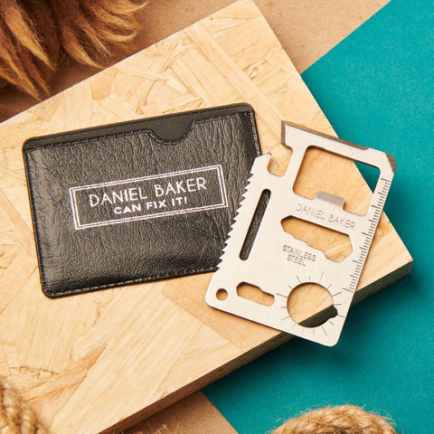 Personalised Engraved Stainless Wallet Card Multi Tool