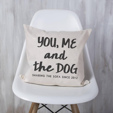 Personalised 'You, Me And The Dog' Cushion - Oakdene Designs - 1