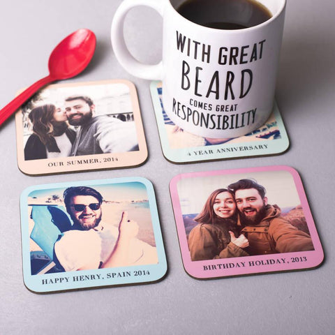 Set Of Four Personalised Photo Coasters