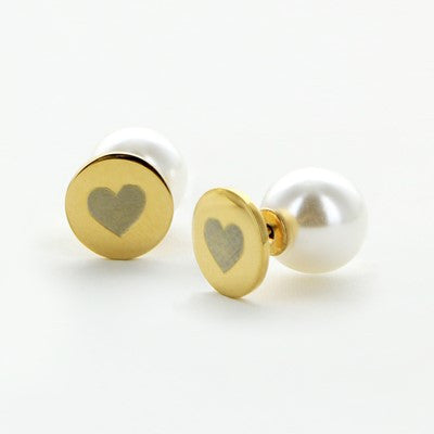 18 kt Gold - Plated 360° Smooth Heart Stud and Pearl Earrings - Gold Jewelry - BeauJax Boutique