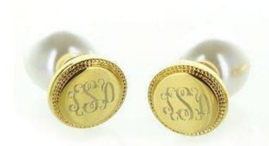Monogrammed 360° Braided Round Stud Earrings - Gold Jewelry - BeauJax Boutique
