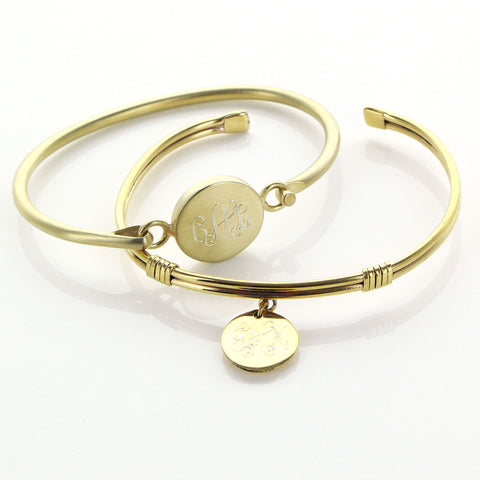 Gold Bangle Wrap Cuff with Monogrammed Charm - Bracelets - BeauJax Boutique