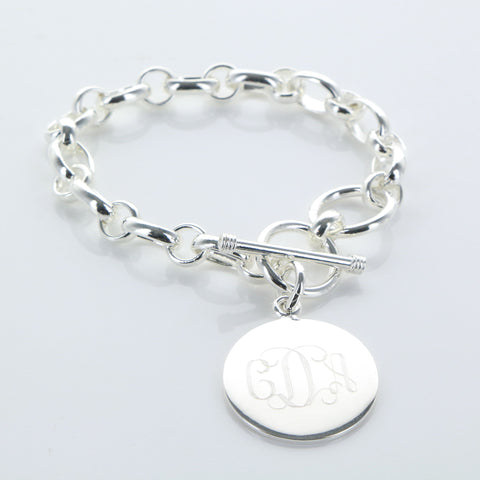 Silver Charm Bracelet with Large Round Engraved Charm - Bracelets - BeauJax Boutique