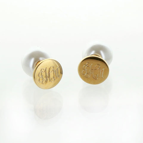 Monogrammed 360° Smooth Round Stud and Pearl Earrings in Gold - Gold Jewelry - BeauJax Boutique
