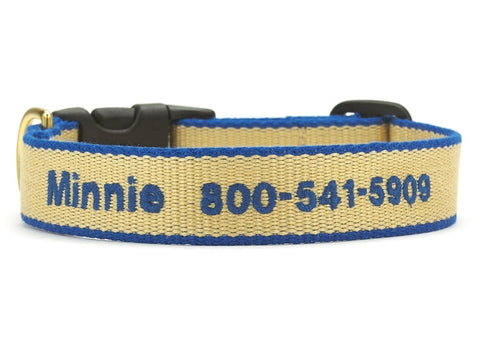 Bamboo Tan and Royal Blue Dog Collar - Personalized Collars - BeauJax Boutique