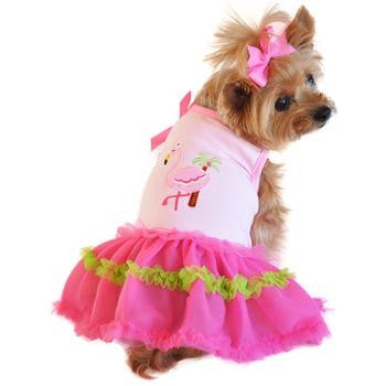 Pink Flamingo and Palm Tree Ruffled Tutu Dog Tank Dress - Doggy Dresses - BeauJax Boutique