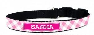 Gingham Personalized Dog Collars Available in 5 Colors - Personalized Collars - BeauJax Boutique