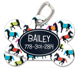 Horses Personalized Bone Pet Tag in Two Designs! - Pet Tags - BeauJax Boutique