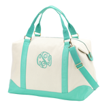 Large Monogrammed Canvas Weekend Bag - Overnight Bags - BeauJax Boutique