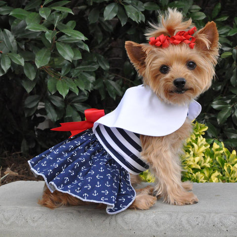 New! Nautical Designer Dog Dress includes Matching Leash - Doggy Dresses - BeauJax Boutique