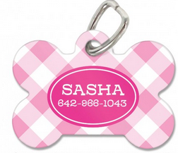 Gingham Personalized Bone Pet Tag Available in 5 Colors! - Pet Tags - BeauJax Boutique