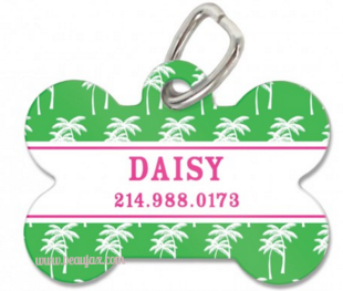 Preppy Palm Personalized Bone Pet Tag Available in 4 Designs! - Pet Tags - BeauJax Boutique