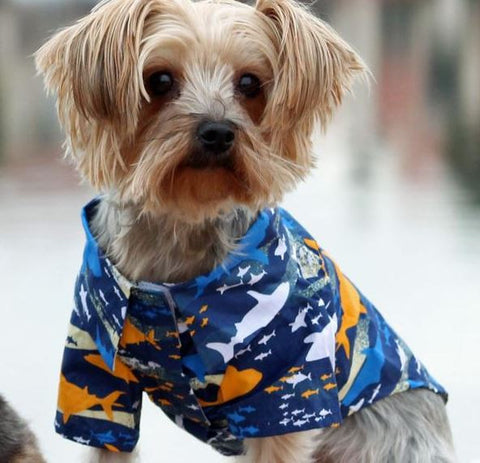 Blue Island Sharks Hawaiian Camp Dog Shirt - Apparel - BeauJax Boutique