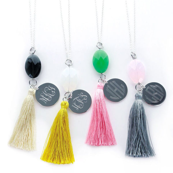 Silver Jeweled Monogrammed Tassel Necklace - Necklaces - BeauJax Boutique