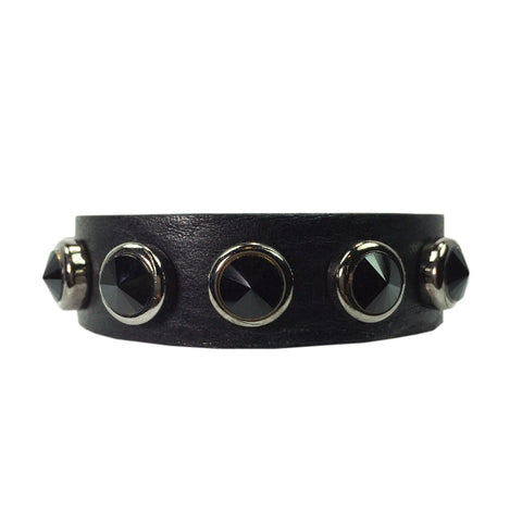 Black Stone Leather Bracelet