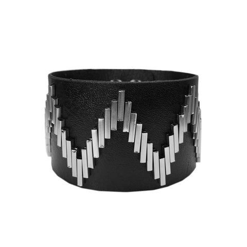 Zig Zag Pattern Leather Band Bracelet