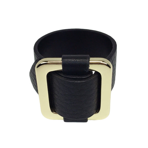Square Gold-Plated Buckle Textured Leather Bracelet