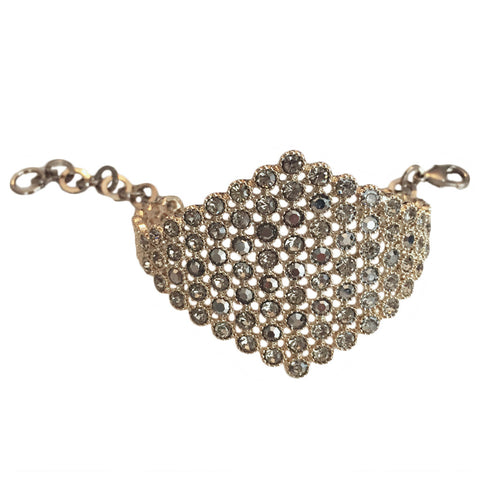 Antique Gold & Crystal Cuff With Chain