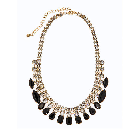 Crystal & Black Stone Fashion Necklace