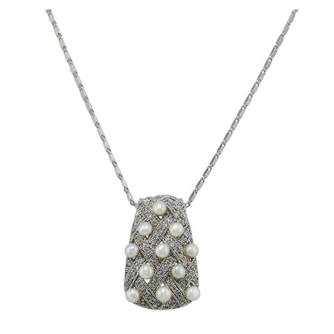 Basketweave Retangle Diamond With Pearls Pendant