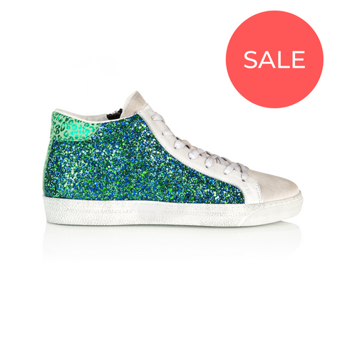 ALTO: BLUE & GREEN GLITTER HIGH TOP TRAINER