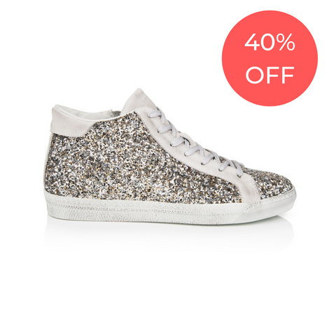 ALTO: SILVER GLITTER HIGH TOP TRAINER