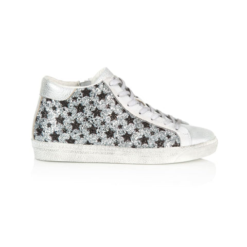 ALTO: SILVER & BLACK STAR GLITTER HIGH TOP TRAINERS