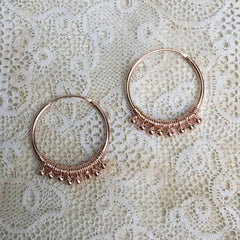 Luana hoops with balls - rosé gold plated - small