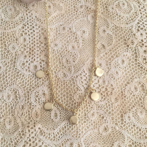 multi coin necklace - gold plated