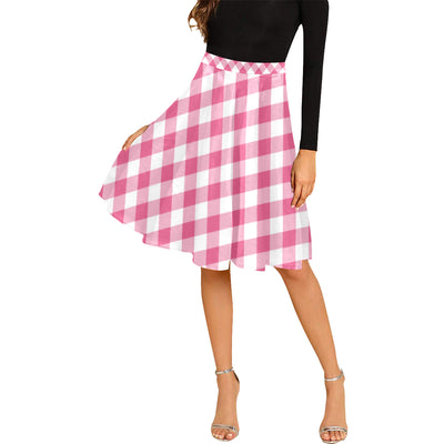 Gingham Midi Skirt | XXXL / Pink Gingham Melete Pleated Midi Skirt (Model D15) | Women's Dress | JacksonsRunaway